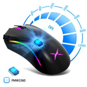 Delux M625 PMW3360 Sensor Gaming Mouse 12000DPI 7 Programmable Buttons RGB Backlight Wired Mice with Fire Key For FPS Gamer discountshub