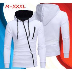 Oblique Zippers Color Block Fleece Hoodie - WHITE discounthubs