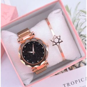 Product image thumbnail.Product image thumbnail. Fashion By LV Women's Mesh Magnet Buckle Quartz Wrist Watch- Rose Gold discountshub