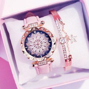 2019 Women Watches Bracelet set Starry Sky Ladies Bracelet Watch Casual Leather Quartz Wristwatch Clock Relogio Feminino discountshub