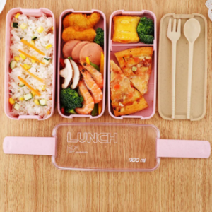 900Ml Healthy Material Lunch Box 3 Layer Wheat Straw Bento Boxes Microwave Dinnerware Container discountshub