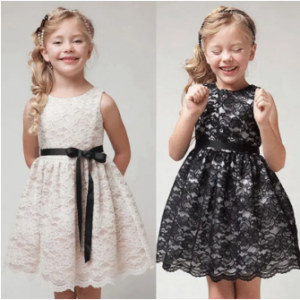 Bow-Knot Girls Sleeveless Lace Princess Dress For 2-11Y discountshub