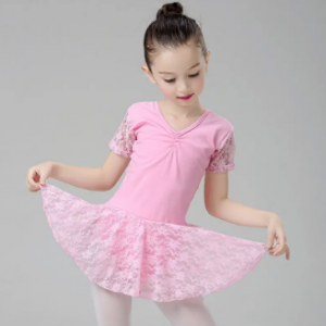 Lace Patch Girls Short Sleeve Ballet Dress For 2-11 Years discountshub