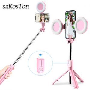 Wireless Bluetooth Selfie Stick with Led Ring Light Foldable Tripod Monopod For iPhone Xiaomi Huawei Samsung Android Live Tripod discountshub