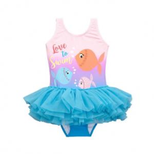 1Pcs Fish Pattern Toddler Girls Swimwear Swimsuit with Tutu Skirt For 1Y-6Y discountshub