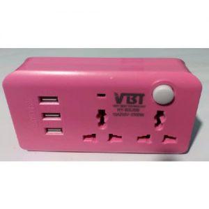 2-socket Adaptor With 3-USB - Pink discoucntshub