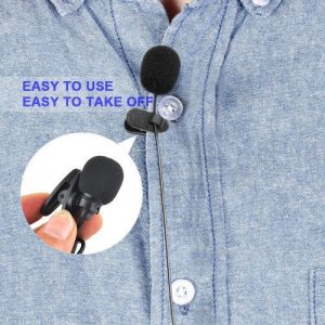 3.5mm Jack Handsfree Condenser Microphone With External Clip-on Lapel For IPhone, Samsung, Etc discountshub