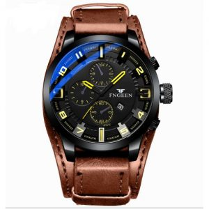 Fngeen Elegant Women Leather Sports Unisex Wrist Watch- Brown discountshub