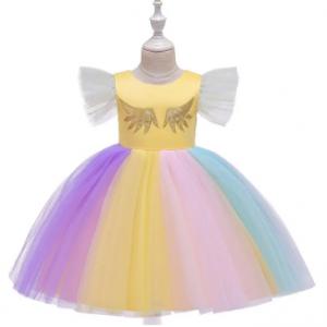 Girls Cartoon Unicorn Flying Sleeve Colorful Mesh Princess Performance Dress For 4-13Y discountshub