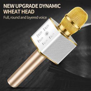Gold Wireless Dynamic Microphone Bluetooth Speaker discountshub