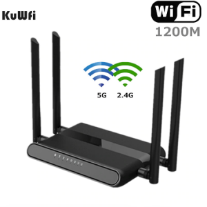 KuWFi 1200Mbps WiFi Router Dual Band Gigabit Wireless Internet Router AC1200 High Speed Router with USB 2.0&SD Card for Home discountshub