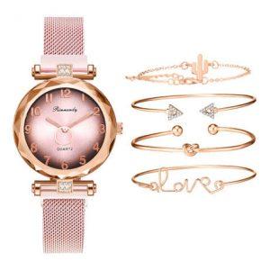 Ladies Wrist Watch With 4 Braclet Set- Gold discountshub