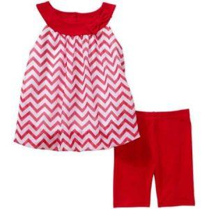 Healthtex Sleeveless Chiffon Top and Matching Leggings - Red discountshub