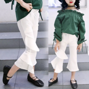 Stylish Girl Kids Solid Color Patchwork Flare Pants For 4Y-15Y discountshub