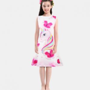 Unicorn Butterfly Pattern Girls Sleeveless Dress For 4-13Years discountshub