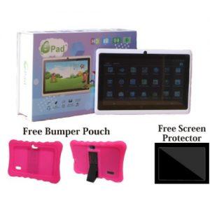 "A707 - 7"" Educational Tablet - 16GB ROM - 2GB RAM - Screen Protector + Pink Case discountshub"