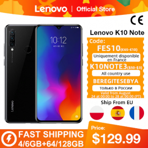 Global Version Lenovo K10 Note (Z6 Lite) 64GB 128GB Snapdragon 710 Octa Core Triple Back Cams 6.3 Inch Water Drop 4050mAh discountshub