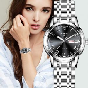 LIGE Fashion Women Watches Ladies Top Brand Luxury Stainless Steel Calendar Sport Quartz Watch Women Waterproof Bracelet Watch discountshub