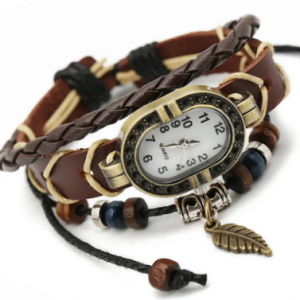 Punk Multilayer Bracelets Watches Vintage Leaf Beads Charm Pendant Mens Watches Gift for Women discountshub
