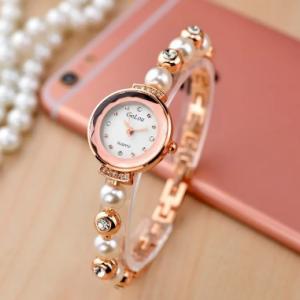 Elegant Fashion Rhinestone Watch Pearl Bracelet Quartz Watch Waterproof Women Watch discountshub