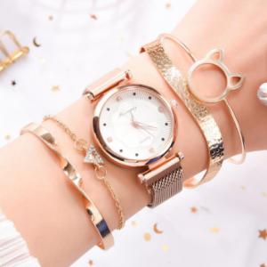 Fashion 5pcs Set Women Watches Luxury Magnet Buckle Flower Rhinestone Watch Ladies Quartz Wrist Watch Bracelet Set Reloj Mujer discountshub