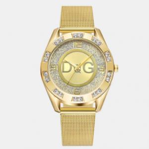 Fashion Luxury Women Watches Crystal Mount Large Three-Hand Dial Mesh Band Quartz Watches discountshub
