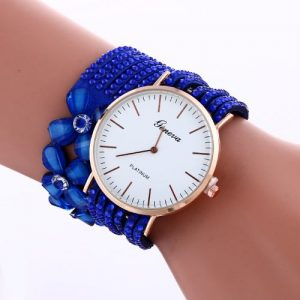 Geneva Elegant Bracelet Wristwatch For Ladies-blue discountshub