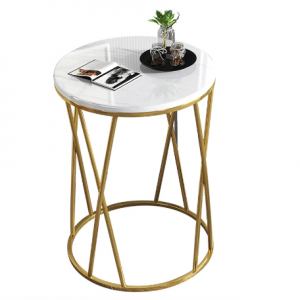 Simple Nordic Light Luxury Coffee Table Sofa Corner Table Bedside Bedroom Marble Pattern Small Round Table Side Tables Furniture discountshub