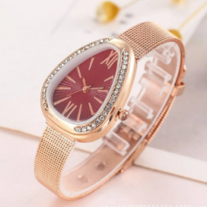 Trendy Water Drop Women Watch Diamond Rhinestone Quartz Watch Stainless Steel Waist Watch discountshub