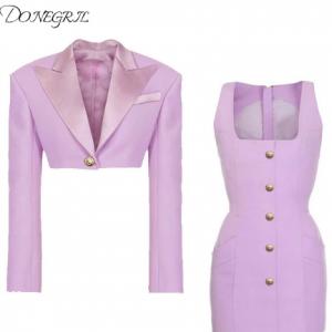 2020 Autumn Winter Designer Purple Lion Buttons Short Coat Blazer+ Vest Dresses Women Satin Collar Single Button Office Lady discountshub