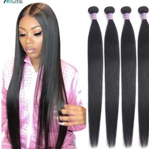 Allove Straight Hair Bundles Brazilian Hair Weave Bundles 100% Human Hair Bundles 30 32 34 36 38inch Non Remy Hair 1/3/4 Pieces discountshub