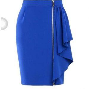 Blue Zip Down Skit Bodycon Pencil Skirt - Blue discountshub