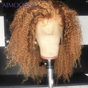 Brown and Blonde Highlight Wig Mongolian Afro Kinky Curly Wig Human Hair Wigs For Women 180 Density Lace Front Wig T Part Remy discountshub