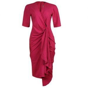 Canill Drape Detail Wrap Dress - Magenta discountshub