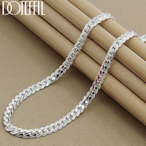 DOTEFFIL 925 Sterling Silver 6mm Full Sideways Necklace 18/20/24 Inch Chain For Woman Men Fashion Wedding Engagement Jewelry discountshub