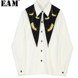 [EAM] Women White Pattern Print Spliced Blouse New Lapel Long Sleeve Loose Fit Shirt Fashion Tide Spring Autumn 2020 JZ225 discountshub