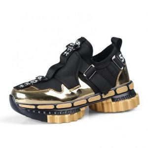 Explosions Men's Personality Gear Thick-soled Sneakers-gold discountshub