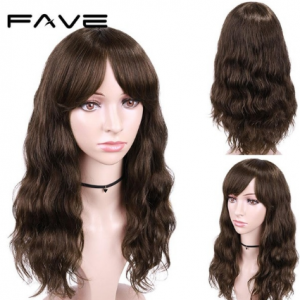 FAVE100% Brazilian Remy Human Hair Wig Natural Wave Wigs with Bangs парики женские #1B/99J/#4 Color For Black Women Fast Ship discountshub