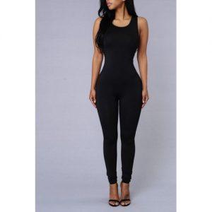 Fancy Finery Lizzie Black Sleeveless Round Neck Jumpsuit discountshub