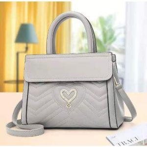 Fastshipping Front Love Leather Handbag - Grey discountshub