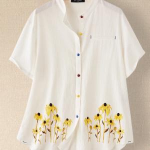 Flowers Print Colorful Button Plus Size Shirt discountshub