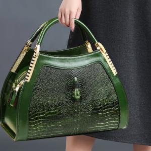 Genuine leather crocodile pattern handbag Women middle-aged female bag mother bag shoulder messenger bag multi-layer large bag discountshub