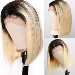 HD Transparent 613 Honey Blonde Brazilian Straight Human Hair Wigs Remy Short Bob Ombre T1/B Lace Closure Front Wigs for Women discountshub