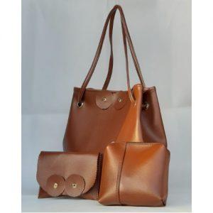 Handmade 3-In-1 Leather Hand Bags-Brown discountshub