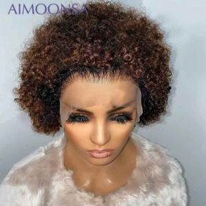 Honey Blonde Lace Front Wigs Bob Short Curly Human Hair Wig Ombre Pixie Wig Human Hair 250 Density Lace Wig Preplucked Remy 13x4 discountshub