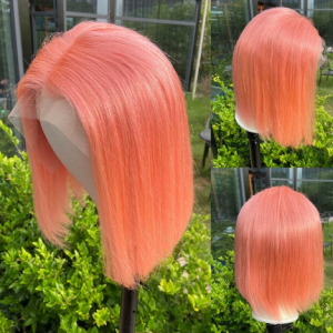 LOVINESS U Part Short Bob Fashion Cheap Wig Human Hair Closure Blonde Black Color Ombre Remy Straight Pre Plucked Hair For Women discountshub