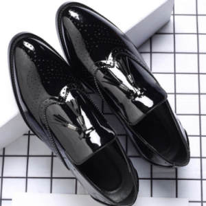 Men Brogue Tassel Decor Loafers Slip Resistant Business Formal Shoes discountshub