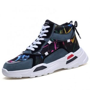 Men's Color Matching High-top Sneakers Casual Shoes-blue discountshub