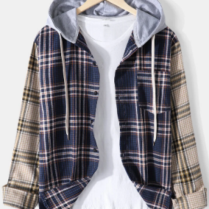 Mens Contrast Plaid Patchwork Chest Pocket Casual Long Sleeve Drawstring Hooded Shirts discountshub