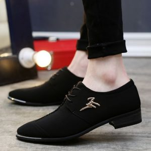 Men's Fashion Casual Cloth Pointed Leather Shoes Black discountshub